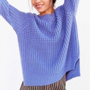 UO BDG Waffle Stitch Purple/Blue Crew Neck Sweater